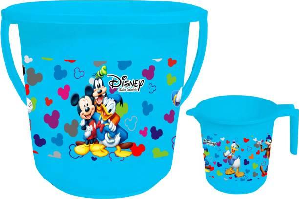 KUBER INDUSTRIES Disney Team Mickey Print 2 Pieces Unbreakable Virgin Plastic Bathroom Bucket With Mug Set- Blue, (1 Pc 16 LTR Bucket & 1 Pc 500 ML Mug) -HS_35_KUBMART17489 16 L Plastic Bucket