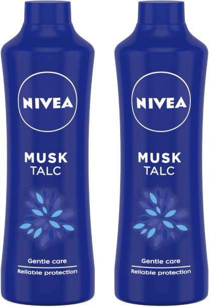 NIVEA Talcum Powder for Men & Women, Musk, For Gentle Fragrance & Reliable Protection Against Body Odour, 400 g ( Pack of 2)