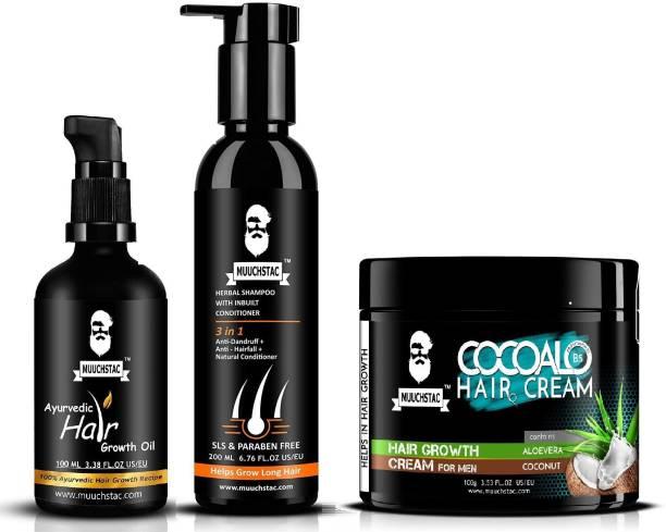 MUUCHSTAC Herbal Hair Care Kit - Hair Growth Oil (100ml), Herbal Shampoo with Inbuilt Conditioner (200ml), Cocoalo Hair Cream (100g)