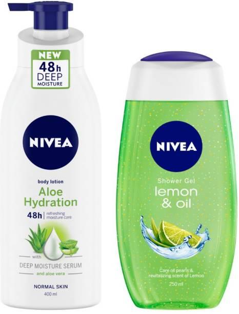 NIVEA Women Combo, Aloe Hydration with Aloe Vera, Body Lotion, 400 ml, Lemon & Oil Shower Gel, 250 ml