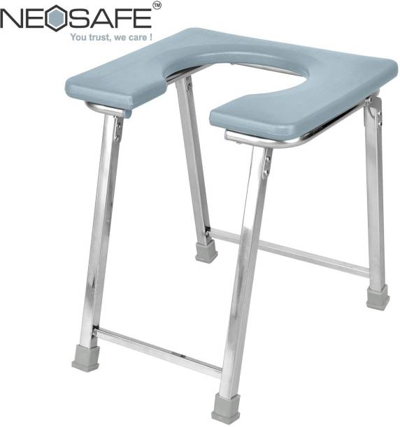 NEOSAFE Stainless Steel Commode Chair front open & Shower chair Commode Chair