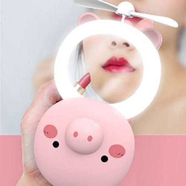 Renyke Mini Mirror Makeup Beauty Light Fan for ( Women/Girls ) 3 in 1 USB Rechargeable Makeup Mirror + LED Light + Folding Fan USB Fan, Led Light ( Multicolor )