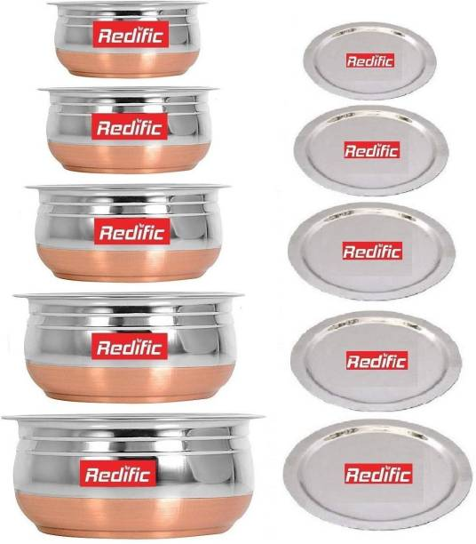 Redific Pack of 10 Stainless Steel Stainless Steel Handi Set Copper Bottom handi set of 5 Cookware/ Container/pot pan/patila/bhagona/Serving bowl/biryani cook & serve Set With Lids (Stainless Steel, Copper, Induction Bottom) Stainless Steel Serving Bowl (Silver, Pack of 5) Dinner Set