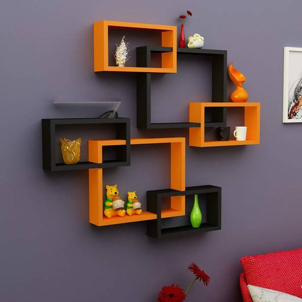 Decorhand Intersecting MDF Wall Shelves Set of 6 Solid Wood Display Unit