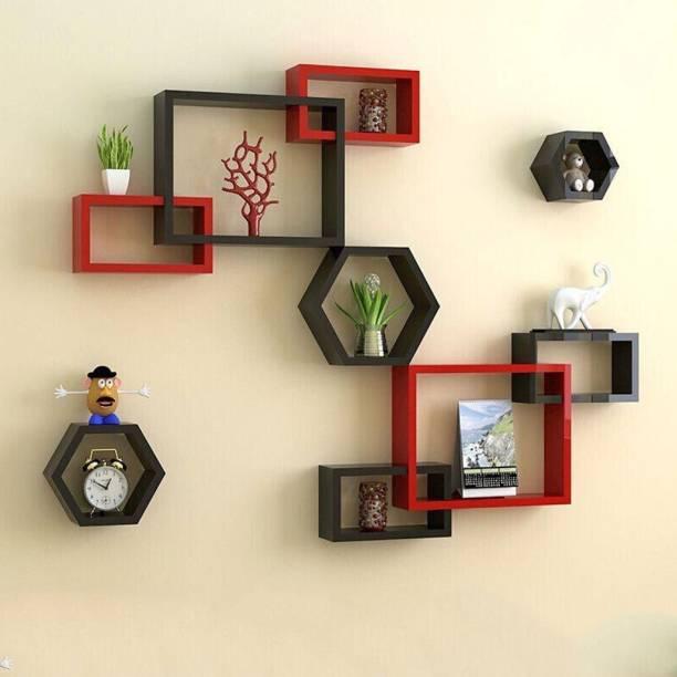 Decorhand Wall Mount Intersecting Hexagon Wall Shelves MDF (Medium Density Fiber) Wall Shelf (Number of Shelves - 9, Red, Black) Solid Wood Display Unit