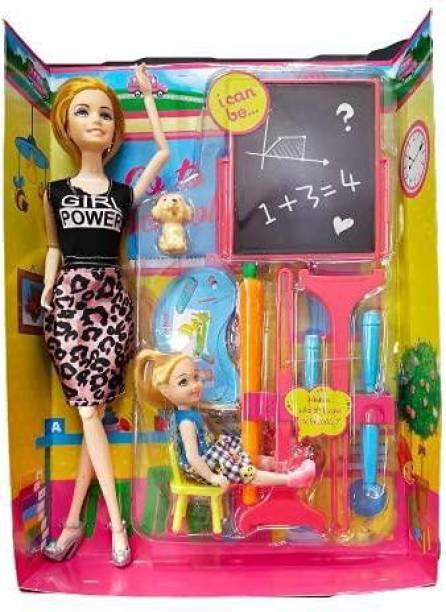 Sharva Enterprise Multi Color Teacher Doll With Board And accessories.