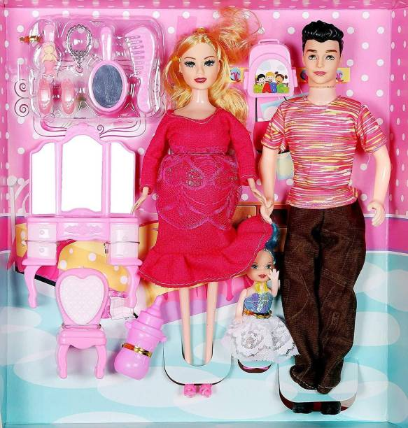 Sharva Enterprise Multi Color pregnant Doll with husband and daughter family doll set