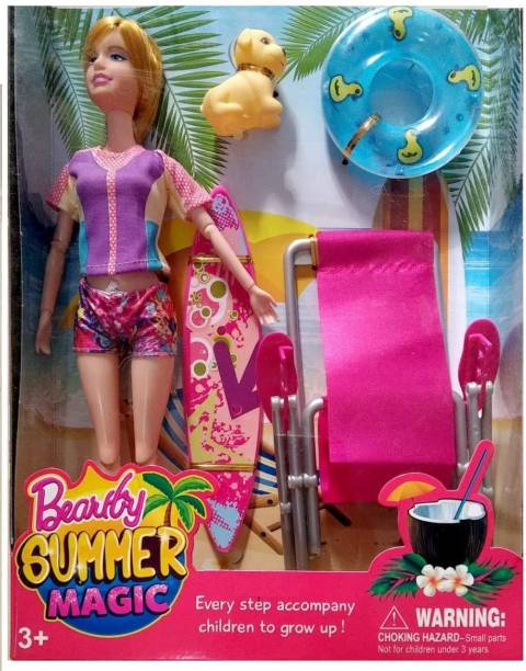 Sharva Enterprise Big Size Beautiful Summer Magic Doll with Family Doll chair pet tube all beach accessories.