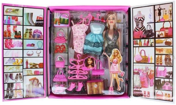 Sharva Enterprise Multi Color wardrobe Doll With accessories.