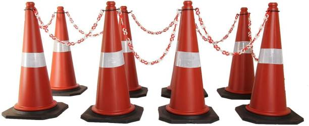 Ladwa Road Traffic Cone, Pack of 8 cones 750mm, with 8 mtr chain + 8 hooks, (Safety Cone, Traffic Safety Cone, Road Safety Cone with Reflective Strips Collar) Emergency Sign