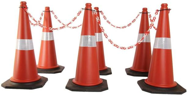 Ladwa Road Traffic Cone, Pack of 6 cones 750mm, with 6 mtr chain + 6 hooks, (Safety Cone, Traffic Safety Cone, Road Safety Cone with Reflective Strips Collar) Emergency Sign