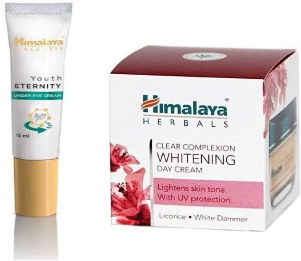 HIMALAYA Combo Pack of Clear Complexion Whitening Day cream & youth eternity under eye cream (2 Items in the set)