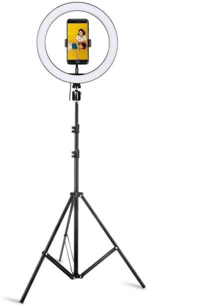Speeqo Selfie Ring Light Remote Control 3 Light Modes 11 Level Brightness Dimmable 3 Modes For Live Strieaming, LED Makeup Ring Light,Roposo Video Stand Ring Flash (White) Ring Flash (White) Ring Flash