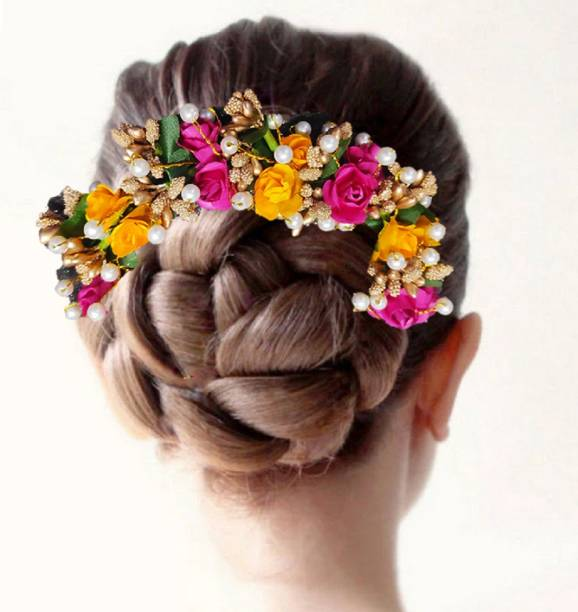 Proplady Wedding Collection Elegant Roses &Pearls Stud Floral Hair Gajra, Bun Maker, Hair Brooch for Girls & Women Wedding Hair Bridal Hair Bun Clip