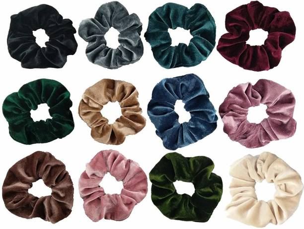 LACE IT Women's 12 Pcs Velvet Hair Scrunchies Set, Colorful Elastic Hair Rubber Bands Bobbles Soft Hair Tie Rope Ponytail Holder (Multicolour ) Rubber Band