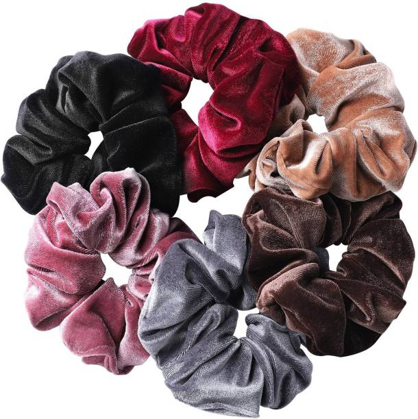 LACE IT Girl's Women's Velvet Scrunchies Hair Ties Rubber Bands, Multicolor, Pack of 6 Rubber Band