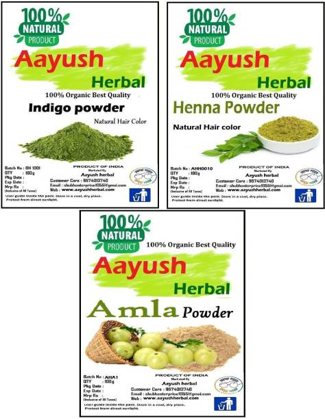 Aayush herbal INDIGO /HENNA /AMLA POWDER FOR HAIR 100% NATURAL(100g EACH)