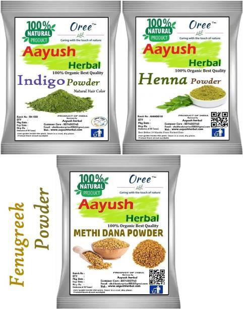 Aayush herbal Organic Indigo/Henna /Fenugreek(Methi Dana) POWDER FOR HAIR 100% NATURAL (100g EACH)