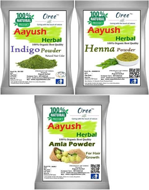 Aayush herbal Organic Indigo/Henna /Amla POWDER FOR HAIR 100% NATURAL (100g EACH)