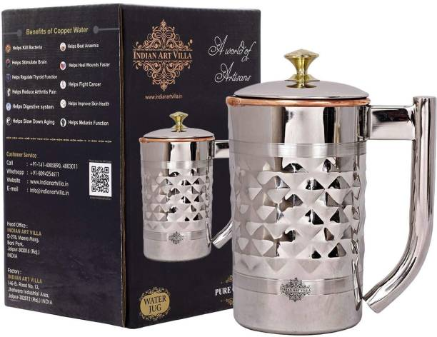 IndianArtVilla 1.2 L Water latest Diamond Hammered Steel Copper Jug Picther with Brass Knob, Drinkware Jug