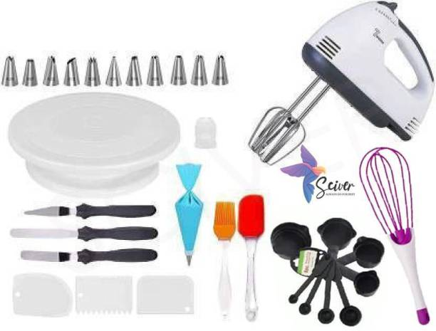 SCIVER X-205 All In One Bakeware Cake Combo Tools Cake Baking and making Tools Combo For Cake Decoration At Home, Kitchen And Store Kitchen Tool Set Cake Tools Round Easy Rotate Turntable + 12 Piece Piping Bag Nozzles Cake Decorating Tool Set Frosting Icing Cream Syringe Piping Bag Tips With Steel Nozzles Muffin Dessert Decorators Reusable & Washable Kitchen Tool Set + Multipurpose Heat Resistant Baking Oil Cooking Silicone Spatula and Pastry Brush Set For Cooking + 3 Pcs and Set Scraper Dough Fondant Scraper, Icing Smoother, Baking Supplies Baking CombO + 8-Pc Black Measuring Cups (240 ml, 120 ml, 60 ml, 30 ml, 10 ml, 5 ml, 2.5 ml, 1.2 ml) +Easy to Handle Ergonomic Handle Designed To Be More Comfortable In Your Hand(Set Of 3 Spatula Knife Set) + 7 Speed egg bitter+ Magic Flodable Plastic Whisk and Server Set Popular Combo 8 in 1 BAKING TOOLS SET Multicolor Kitchen Tool Set (Multicolor) Multicolor Kitchen Tool Set