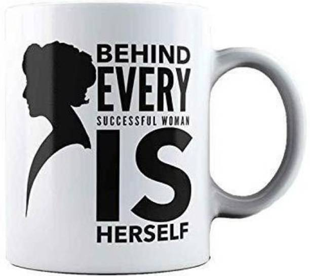 THE SD STORE Behind Every Successful Women ID Herself Women's Day Special 8 March Coffee Gift for Women, mom, Aunty, Sister, Girls 330ML (WHITE2 Behind Every Successful Women) Ceramic Coffee Mug