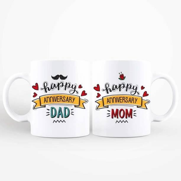THE SD STORE Happy Anniversary Dad and Moms with a Cute Scroll - Couples for Parents to Gift on Anniversary (White) Ceramic Coffee Mug
