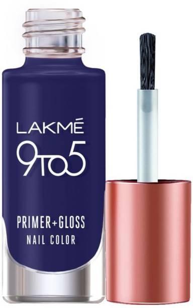 Lakmé 9to5 Primer + Gloss Nail Colour, Summer Blue Summer Blue