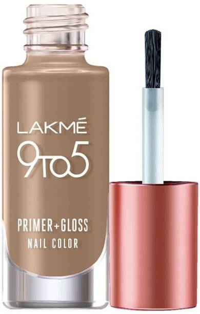 Lakmé 9to5 Primer + Gloss Nail Colour, Brown Sandcastle Brown Sandcastle