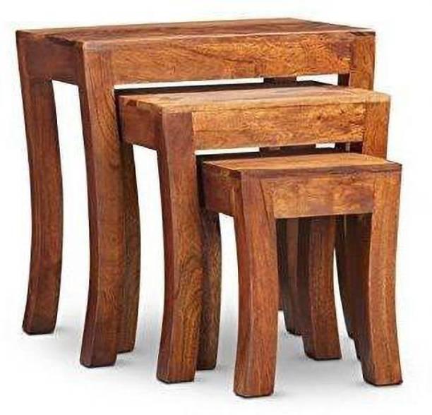 Custom Decor Elmora Brown Solid Wooden Nesting Tables Set of 3 - Honey Teak Finish Solid Wood Nesting Table