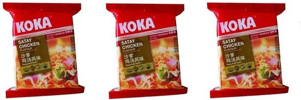 KOKA Satay Chicken Flavour Instant Noodles (Imported) -(Pack of 3) Instant Noodles Non-vegetarian