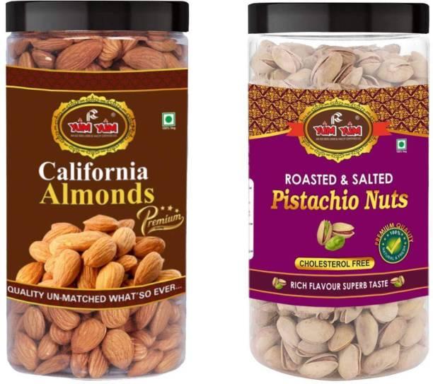 YUM YUM Premium Jumbo Almond (500g) and Pista (500g) 1kg Dry Fruits Combo Pack- Almonds, Pistachios