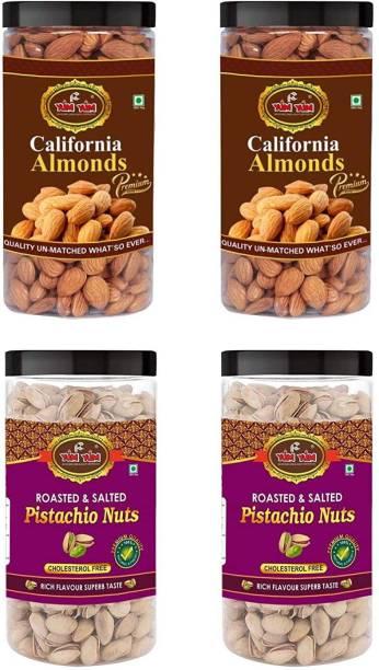 YUM YUM Premium Jumbo Almond (1kg) and Pista (1kg) 2kg Dry Fruits Combo Pack- Almonds, Pistachios