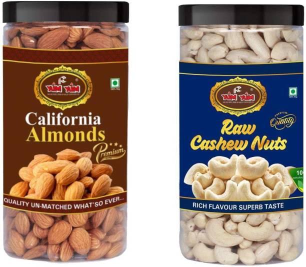 YUM YUM Premium Jumbo Almond (500g) and Cashew (500g) 1kg Dry Fruits Combo Pack- Almonds, Cashews