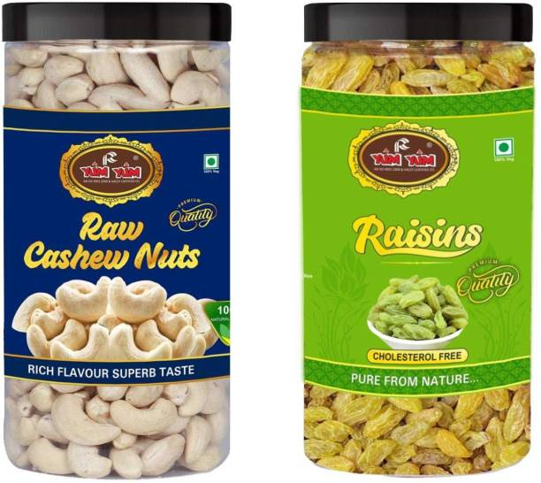 YUM YUM Premium Dry Fruits Combo Pack 1kg- Cashews, Raisins