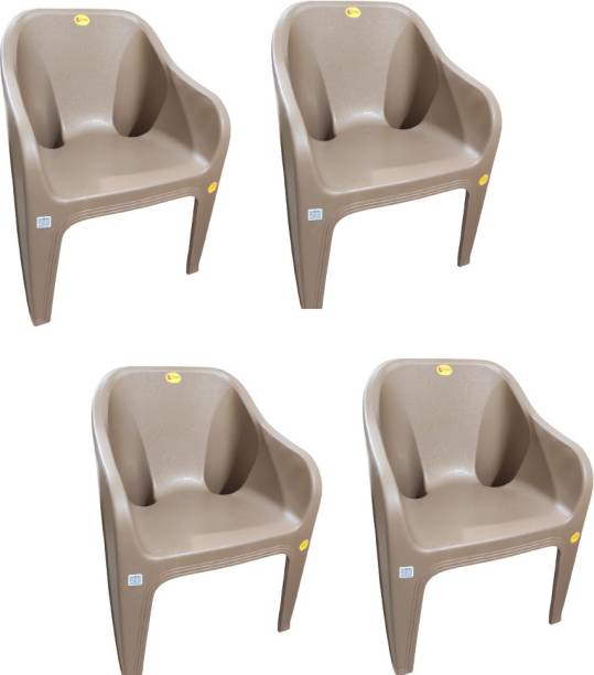 Highway Durable Sofa chair for Home ,Office (size Large )( pack of 4 ) (Choco Cream) Plastic Outdoor Chair