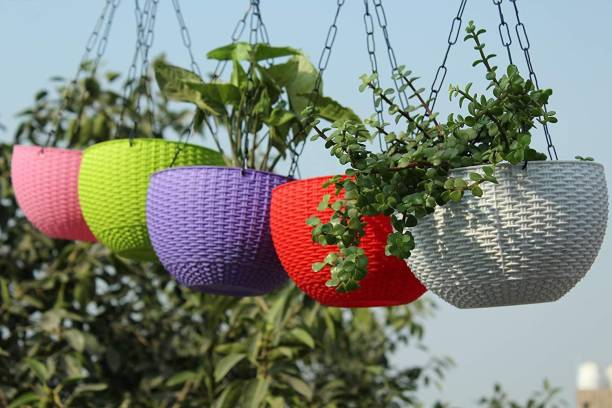 GREENPOTZ Round Flower Rattan Hanging Planter/Beautiful Round Gamla Pot/Flower Hanging Pot withWoven Design Hanging Euro Basket For Indoor and Outdoor with Chain Plant Container Seth chain for Garden Balcony (Multicolor) Plant Container Set