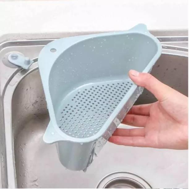 Flipkart SmartBuy Triangular Multifunctional Sink Basket, Drain Shelf, Storage Rack for Bathroom, Sponge, Brush, Fruits, Peels, Soap with Strong Suction Cup (SET OF 1) Plastic Wall Shelf