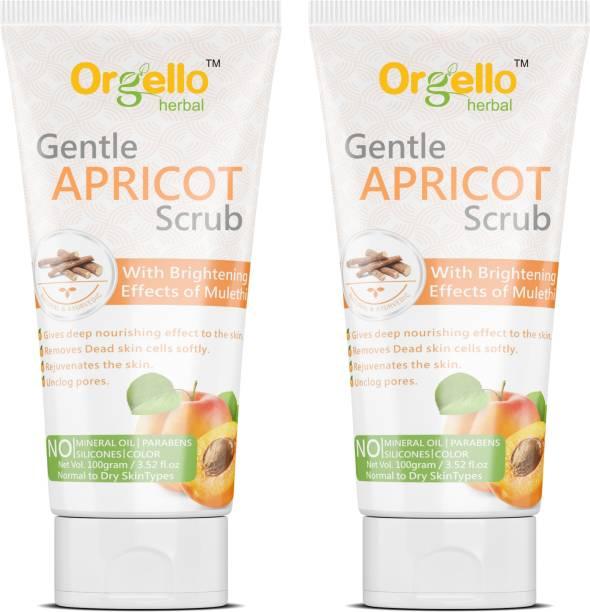 orgello Apricot Scrub For Face And Body D Tan Polishing Scrub (2 X 100 g) - Pack Of 2 - for men women girls boys normal oily dry skin sls paraben mineral oil free Scrub
