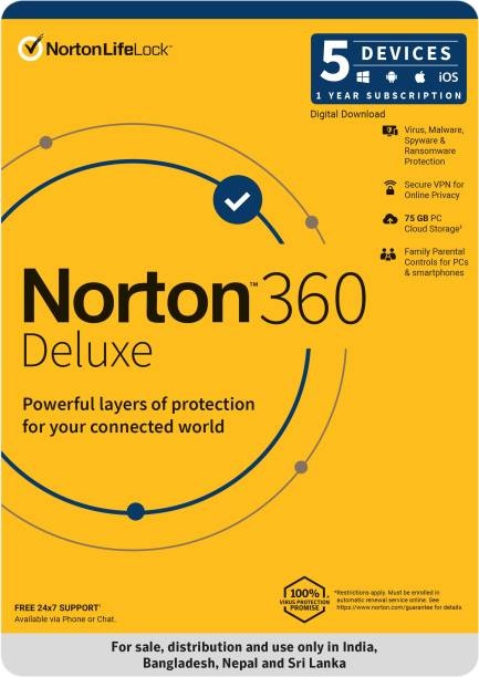 Norton 360 Deluxe 5 PC 1 Year Total Security (Email Delivery - No CD)