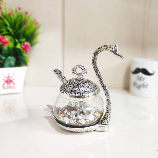 KridayKraft White Metal Turquoise Single Duck Bowl with Spoon Table Décorative Handicrafts Silver Plate for Dryfruit/Decoration/Table Decor Home Décor Bowl Serving Set