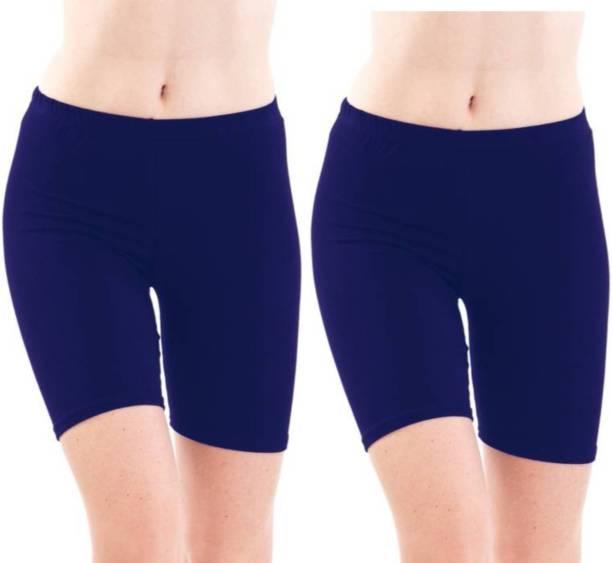 Apraa & Parma Solid Women Blue, Blue Cycling Shorts