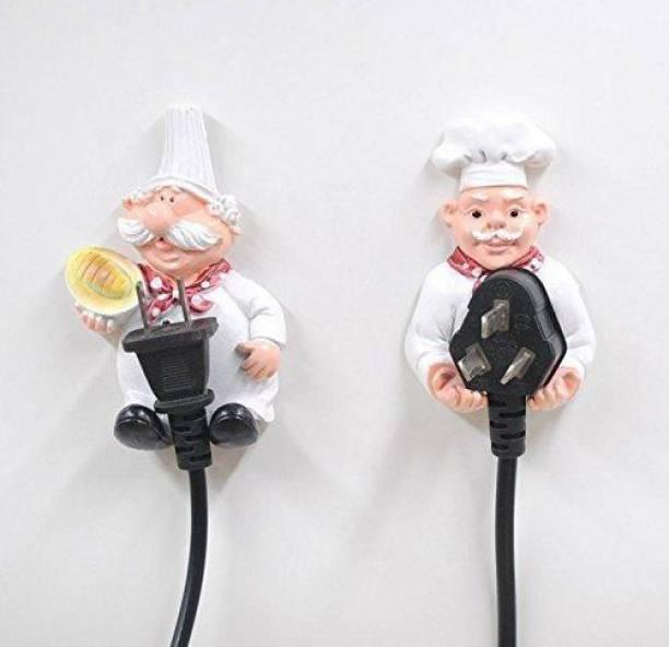Craftomanic Polyresin Cook Fat Chef Power Plug Holder (Pack of 2) / Cartoon Style Chef Figurine / Plug Holder Decorative Showpiece  -  9 cm