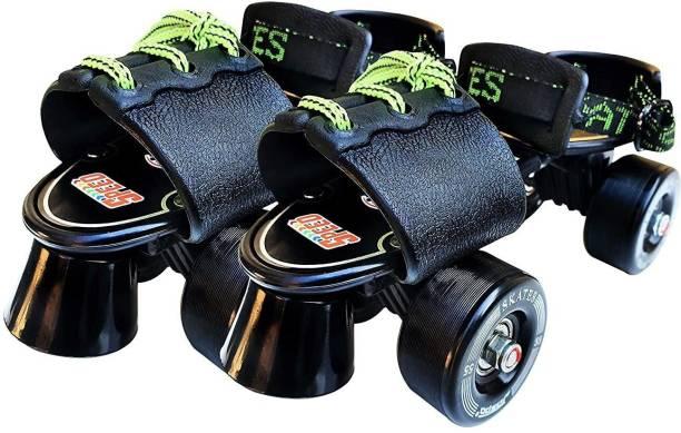 Jaspo Tenacity Adjustable Senior Roller Skates Suitable for Age Group 6-14 yrs old Quad Roller Skates - Size 6 UK