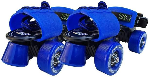Jaspo Tenacity Adjustable Senior Roller Skates Suitable for Age Group 6 to 14 Years (blue) Quad Roller Skates - Size 6 UK