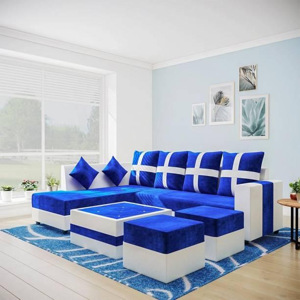Flipkart Perfect Homes Martina leatherette & Fabric 8 Seater  Sofa