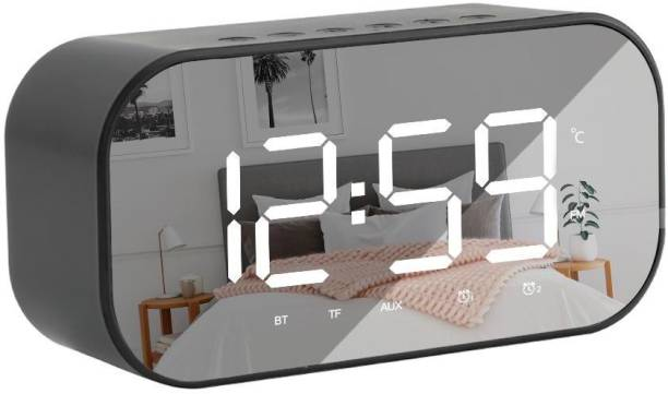 InOne Portable Multifunctional Bluetooth Speaker with Alarm Clock Digital FM Radio TF Card 3.5mm Aux Line-in with Large Mirror LED Display 3 W Bluetooth Speaker