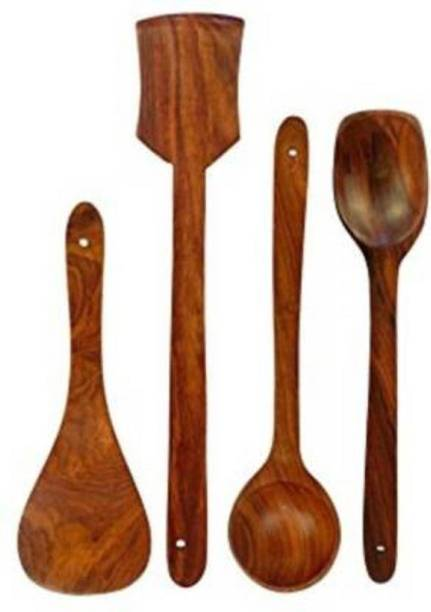 Wellwood Mart wooden cooking spoon tools Wooden Wooden Spoon Set (Pack of 4) Wooden Serving Spoon Set