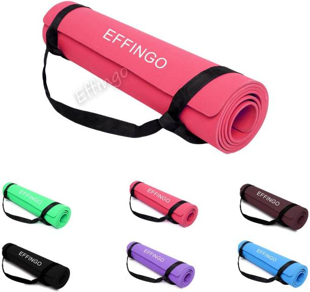 effingo Yoga Mat with Carry Strap for Comfort for Meditation & Exercise [ 4MM, RED ] Red 4MM mm Yoga Mat