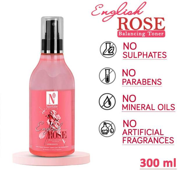 NutriGlow Naturals English Rose Balance Toner/Tightens Pores/No Parabens Men & Women